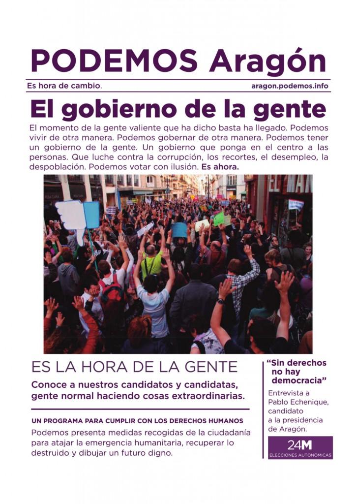 Periodico de campaña de Podemos Aragon