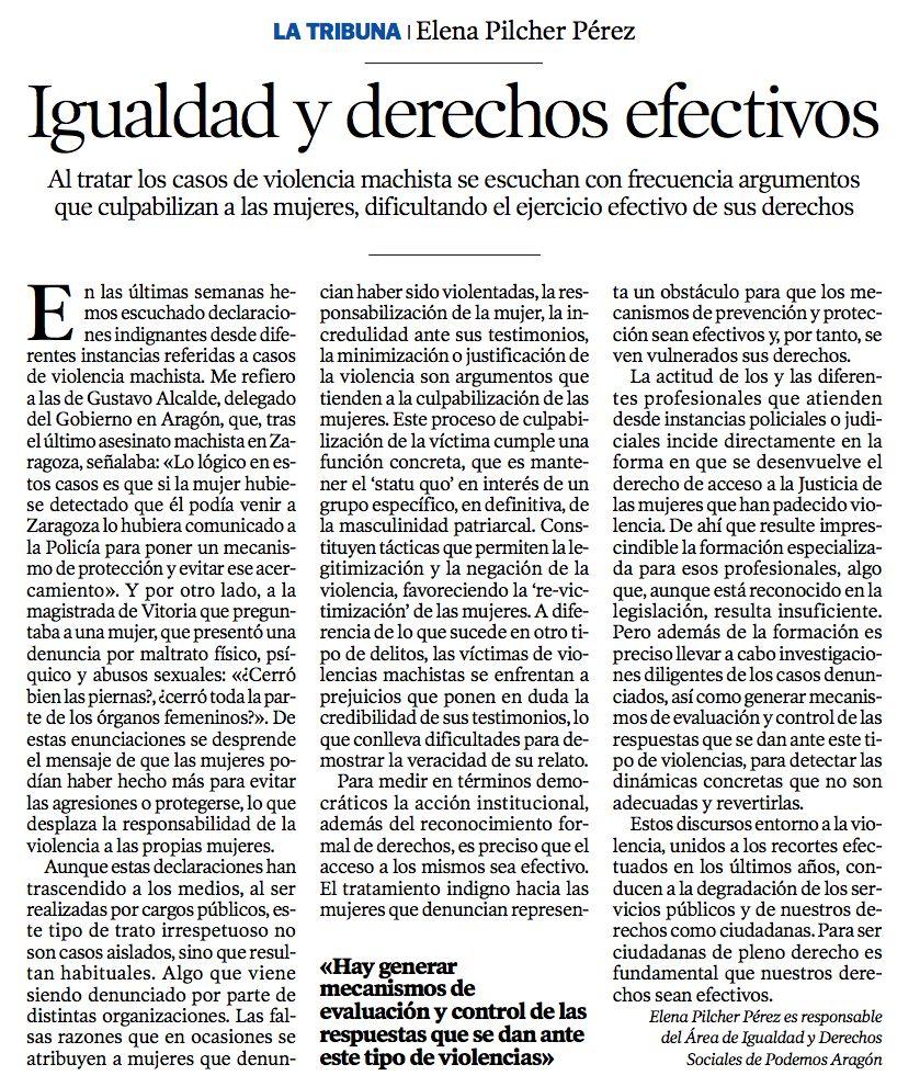 Igualdad, democracia y derechos efectivos - Heraldo de Aragón