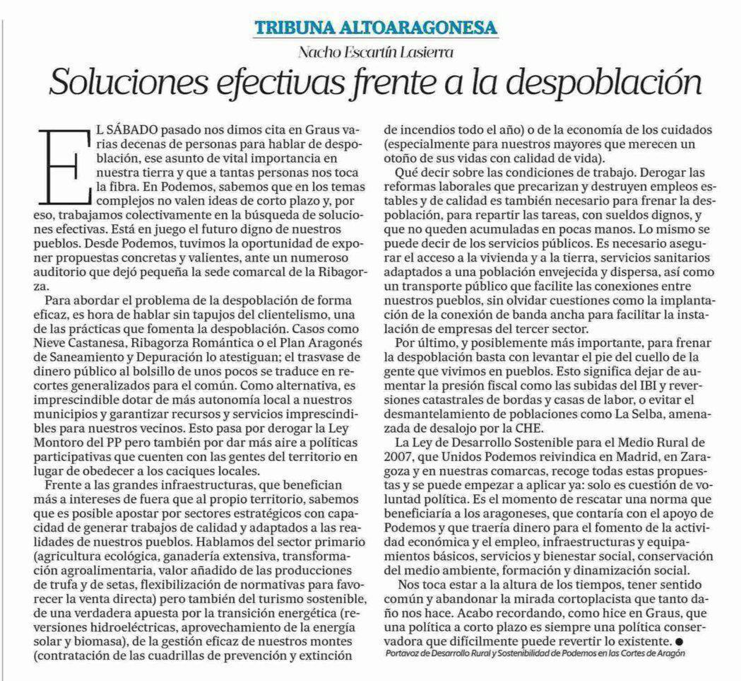 Nacho Escartín: Soluciones efectivas frente a la despoblación