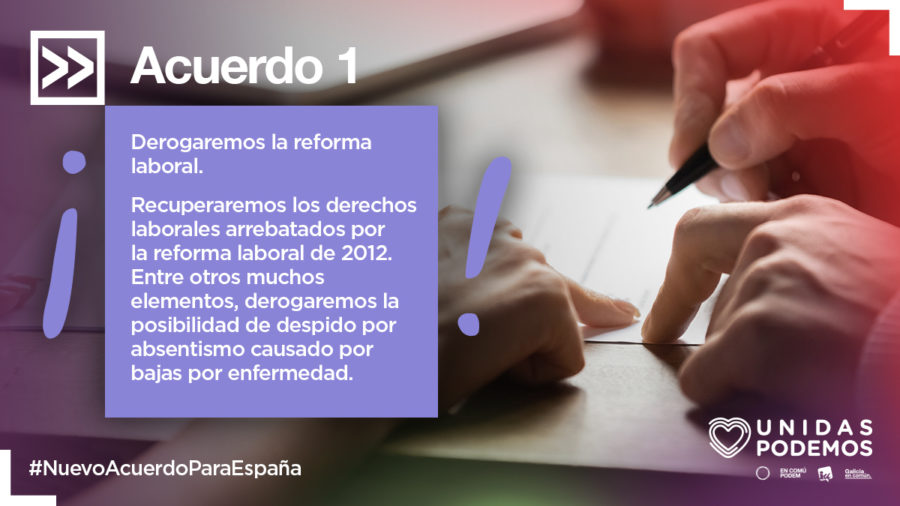 Acuerdo histórico Podemos PSOE